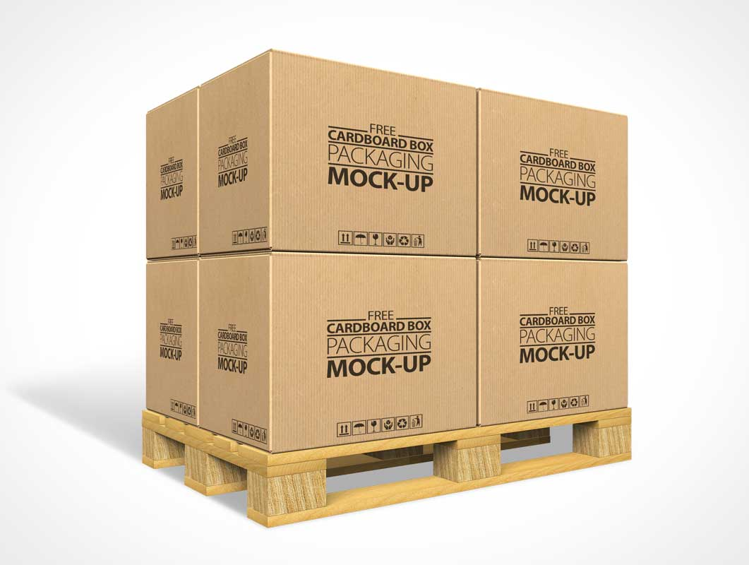 Cardboard Boxes On Shipping Dock Palettes PSD Mockup