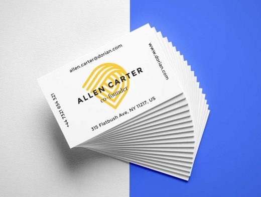 Cascading Business Card Stack PSD Mockup