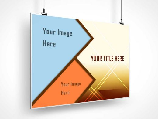 Ceiling Mounted Banner PSD Mockup