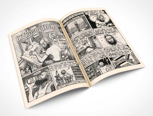 Centrefold Comic Book Rotated To 30° PSD Mockup