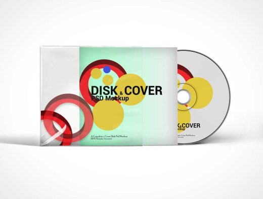 Compact Disk and Cover Sleeve PSD Mockup