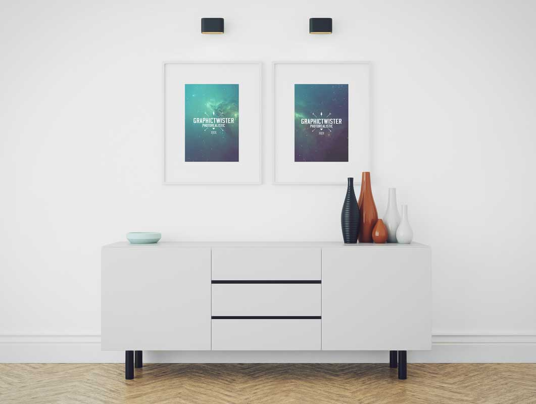 Double Picture Frames In Modern Living room PSD Mockup