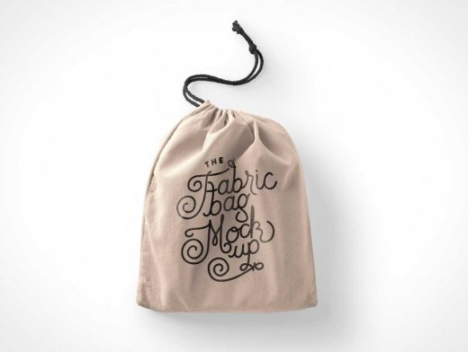 Fabric Drawstring Bag PSD Mockup