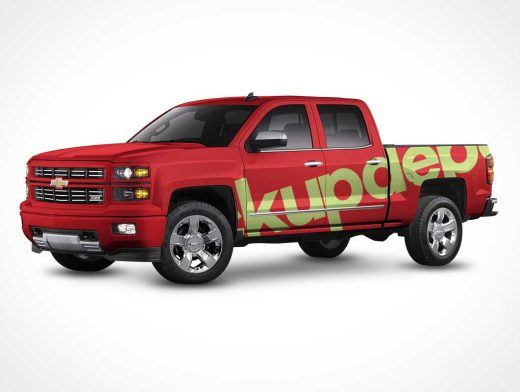 Free Chevy Silverado Truck Wrap PSD Mockup