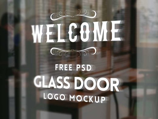 Glass Door Logo PSD Mockup