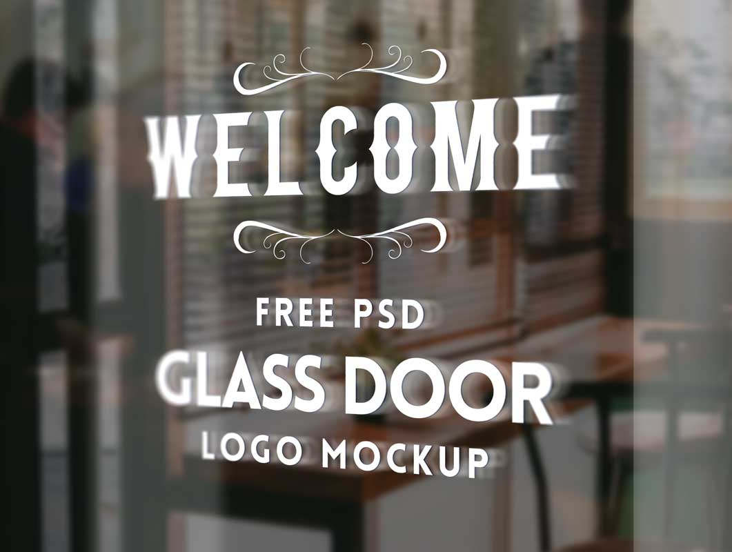 Glass Door Logo PSD Mockup