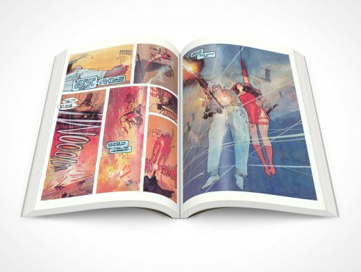 Graphic Novel Centrefold PSD Mockup