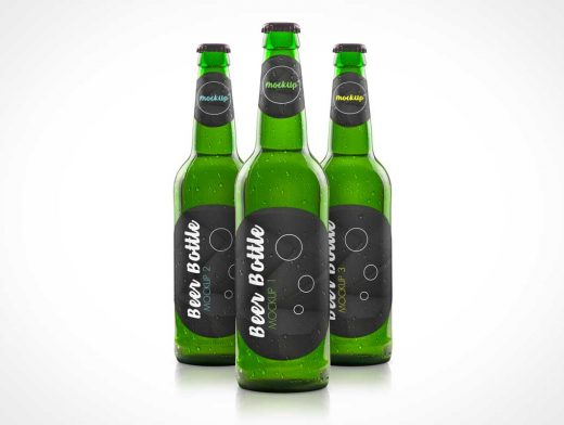 Green Glass Beer Bottle PSD Mockup