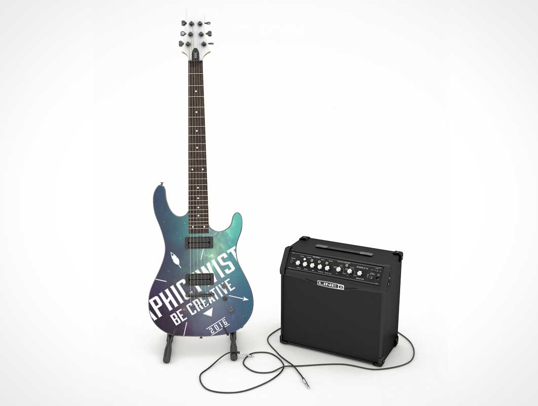 Guitar With Line6 Speaker PSD Mockup