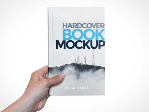 Hardcover Book Hand Held PSD Mockup