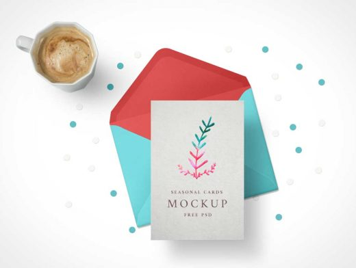 Holiday Greeting Card PSD Mockup And Envelope