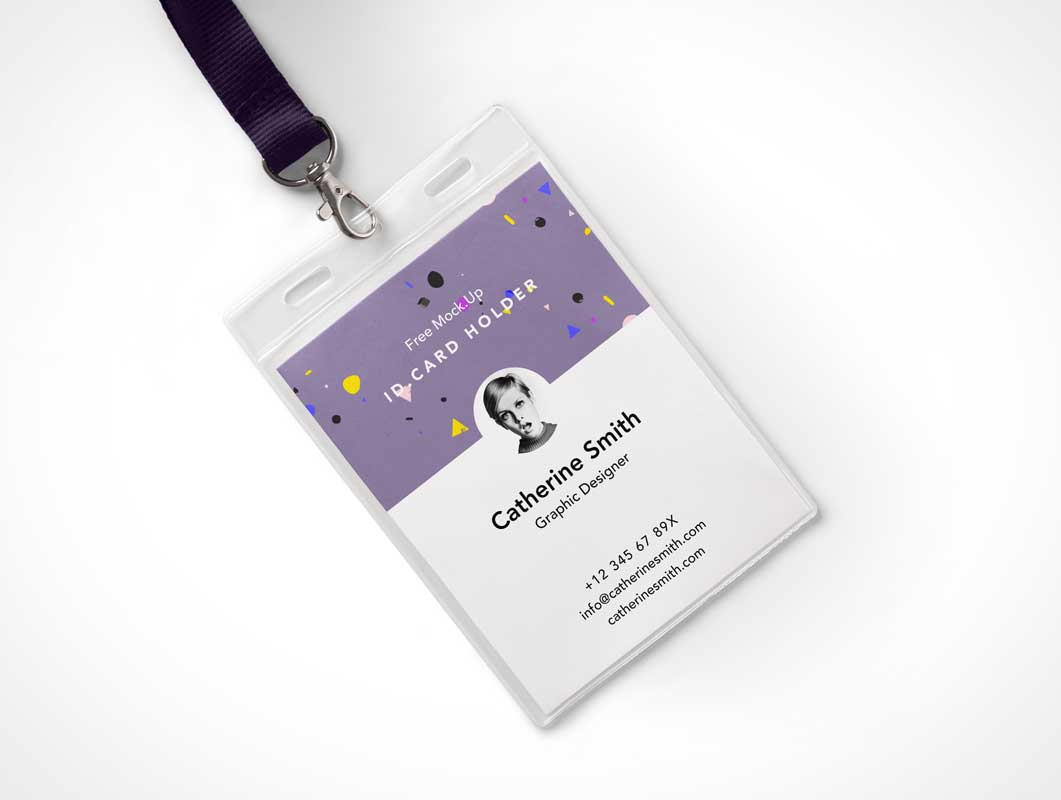 Identity Card Holder PSD Mockup With Lanyard
