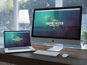 MacBook And Monitor Unique Workspace PSD Mockup