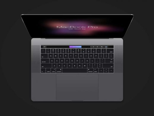MacBook Pro PSD Mockup With Touch Bar
