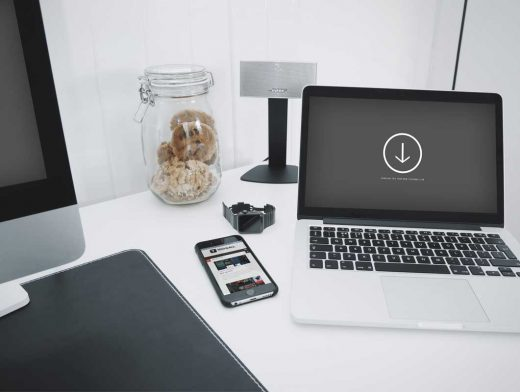 MacBook Workstation PSD Mockup With Cookie Jar