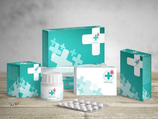 Medical Packaging Boxes And Pills PSD Mockup
