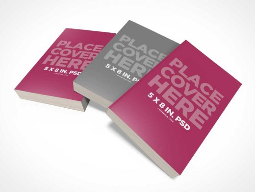 Messy 5 x 8 Book Stack PSD Mockup