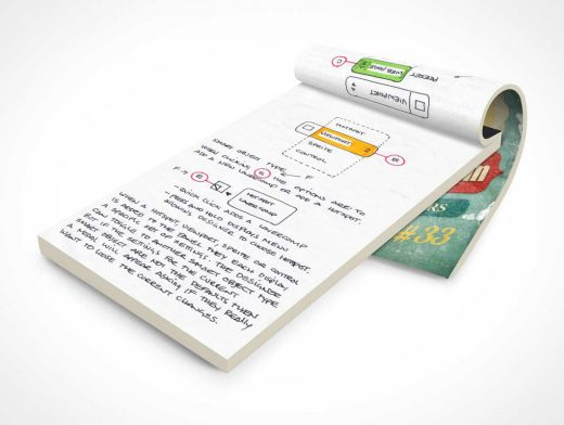 Notepad With Flipped Cover PSD Mockup
