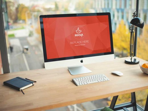 Office Desk PSD Mockup With Downtown Street View