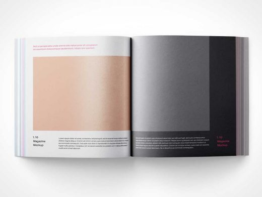 Open Square Magazine Pages PSD Mockup