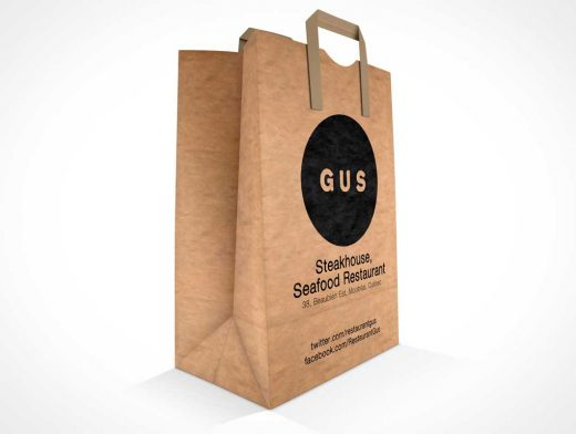 Paper Shopping Bag PSD Mockup With Carry Handles