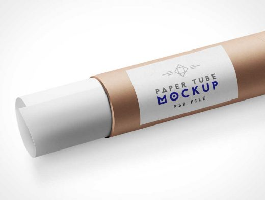 Paper Tube Packaging PSD Mockup