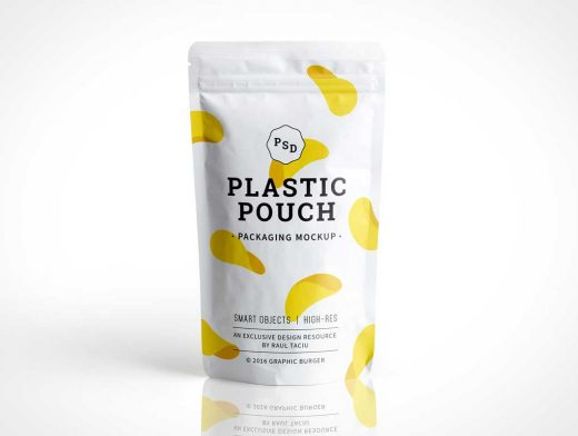 Photorealistic Plastic Pouch Packaging PSD Mockup