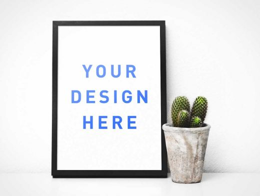 Post Frame PSD Mockup With Cactus Plant
