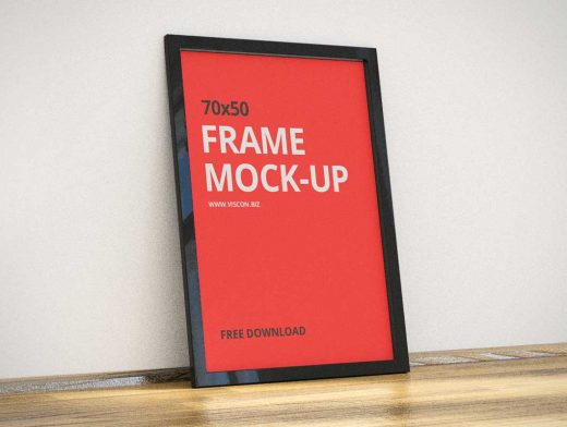 Poster Frame PSD Mockup Floor Decoration