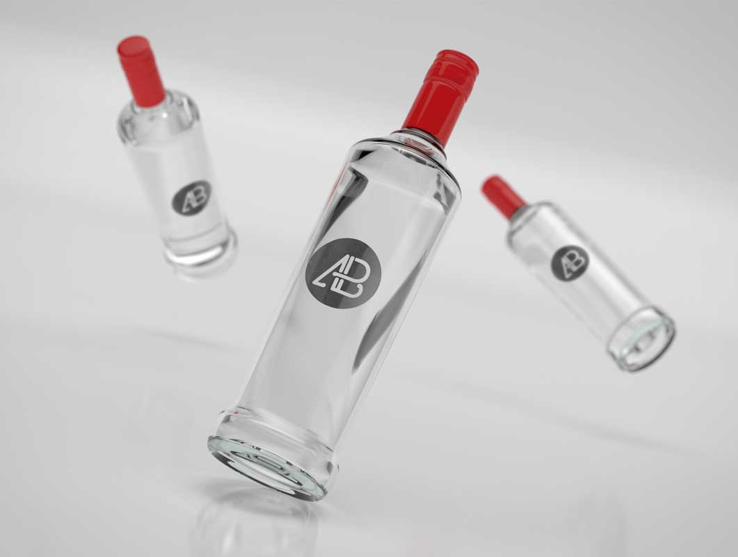 Realistic Vodka Bottle Branding PSD Mockup