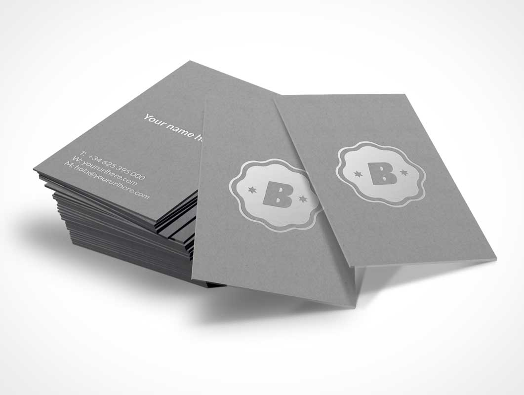Silver Business Card Stack PSD Mockup - PSD Mockups