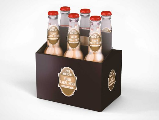 Six Pack Long Neck Beer Case PSD Mockup