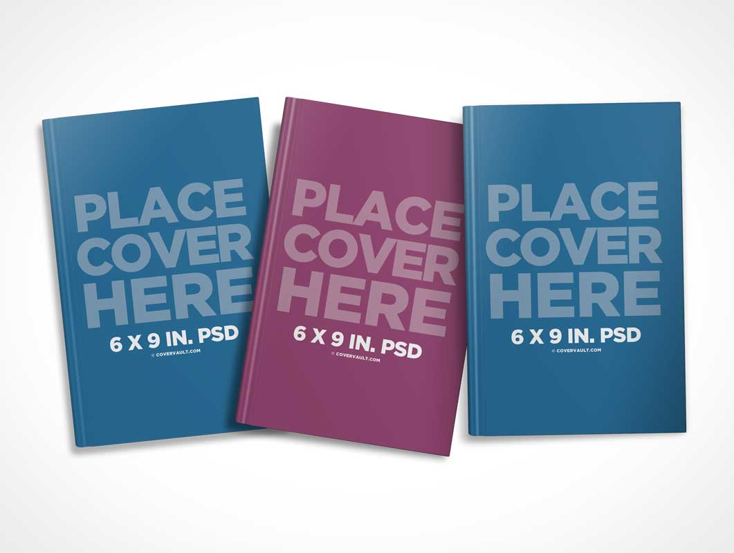 Spineless Scattered 6 x 9 Book Series PSD Mockup