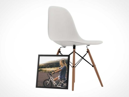 Square Frame Poster PSD Mockup With Modern Chair Scene