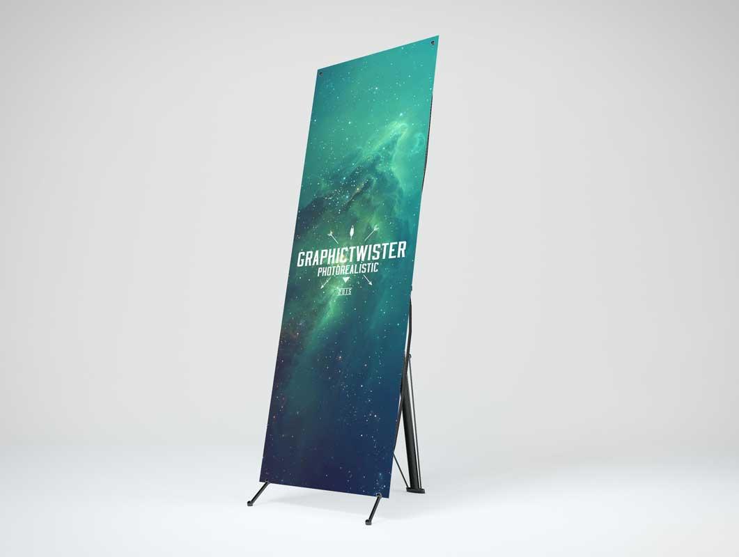 Stiff Cardboard Banner Stand PSD Mockup