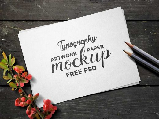 Typography Artwork Paper PSD Mockup
