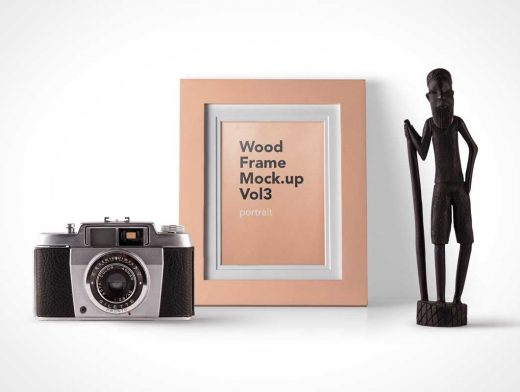 Wood Picture Frame And Vintage Film Camera PSD Mockup