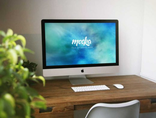 iMac Home Office PSD Mockup With Wooden Desk