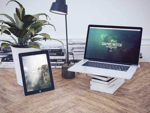 iPad And MacBook PSD Mockup Scene