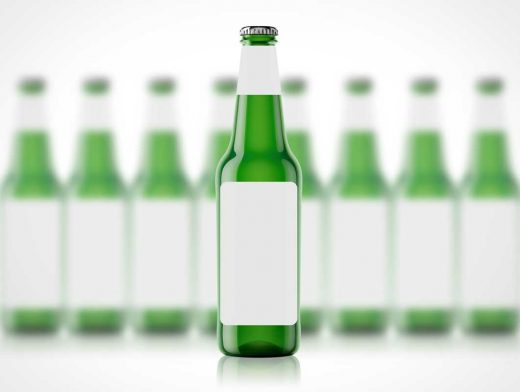 3D Long Neck Beer Bottle PSD Mockup