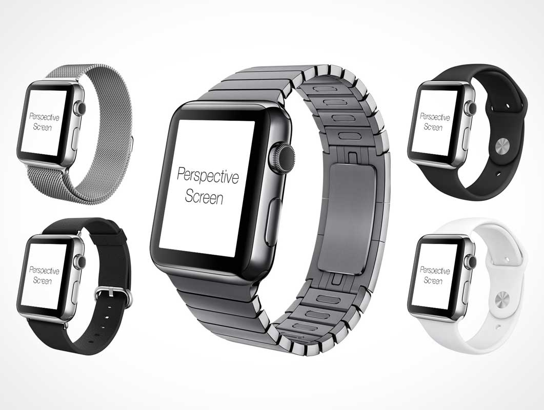 Apple Watch With Seven Wrist Bands PSD Mockup