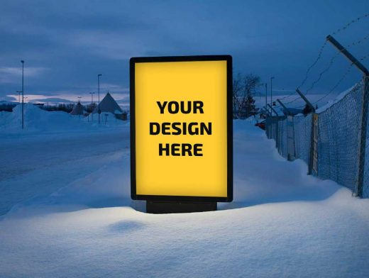 Billboard Entering Russian Village PSD Mockup