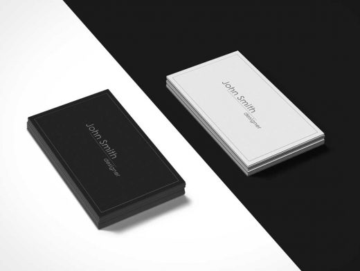 Black and White Business Cards PSD Mockup