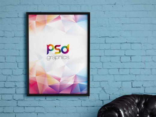 Brick Wall Poster Frame PSD Mockup