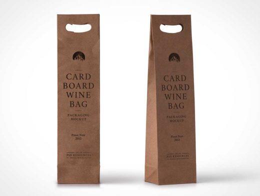 Cardboard Wine Bag PSD Mockup