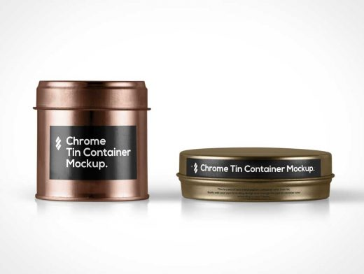 Chrome Tin Container Packaging PSD Mockup