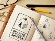 Drawing Sketch Pad PSD Mockup With Pencils