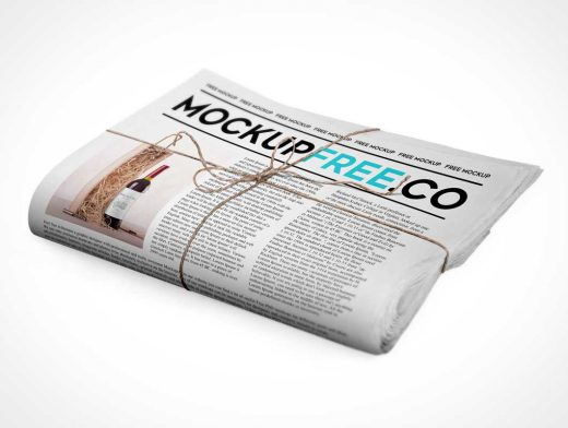 Folded Newspaper / Newsletter PSD Mockup