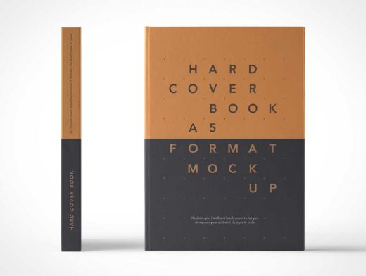 Front Facing A5 Hardcover Book PSD Mockup