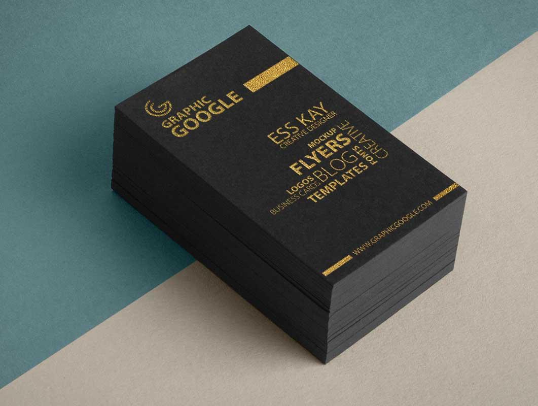 Golden Foil Texture Business Cards PSD Mockup